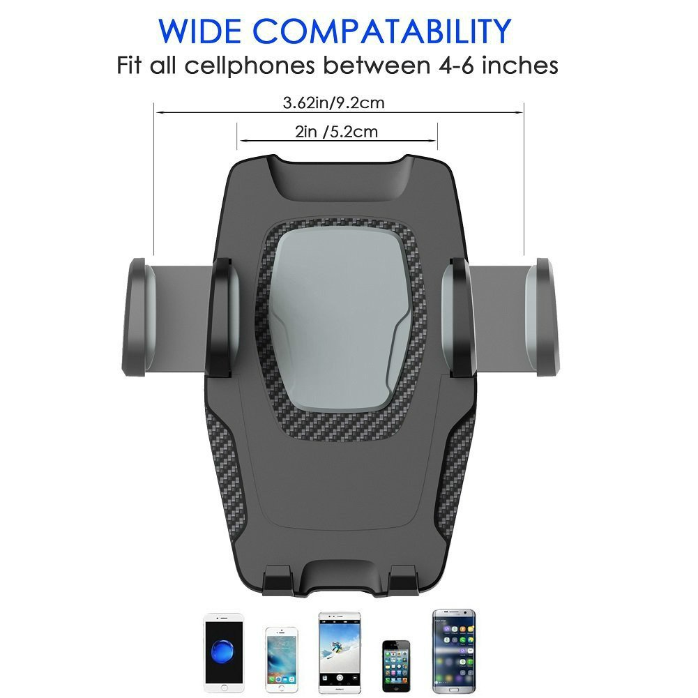 APPS2Car Universal Car Mobile Phone Cradle with Gravity Self-locking One-Touch Design
